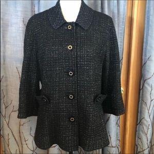 Tory Burch Estella Jacket 12 Blazer. Black silver